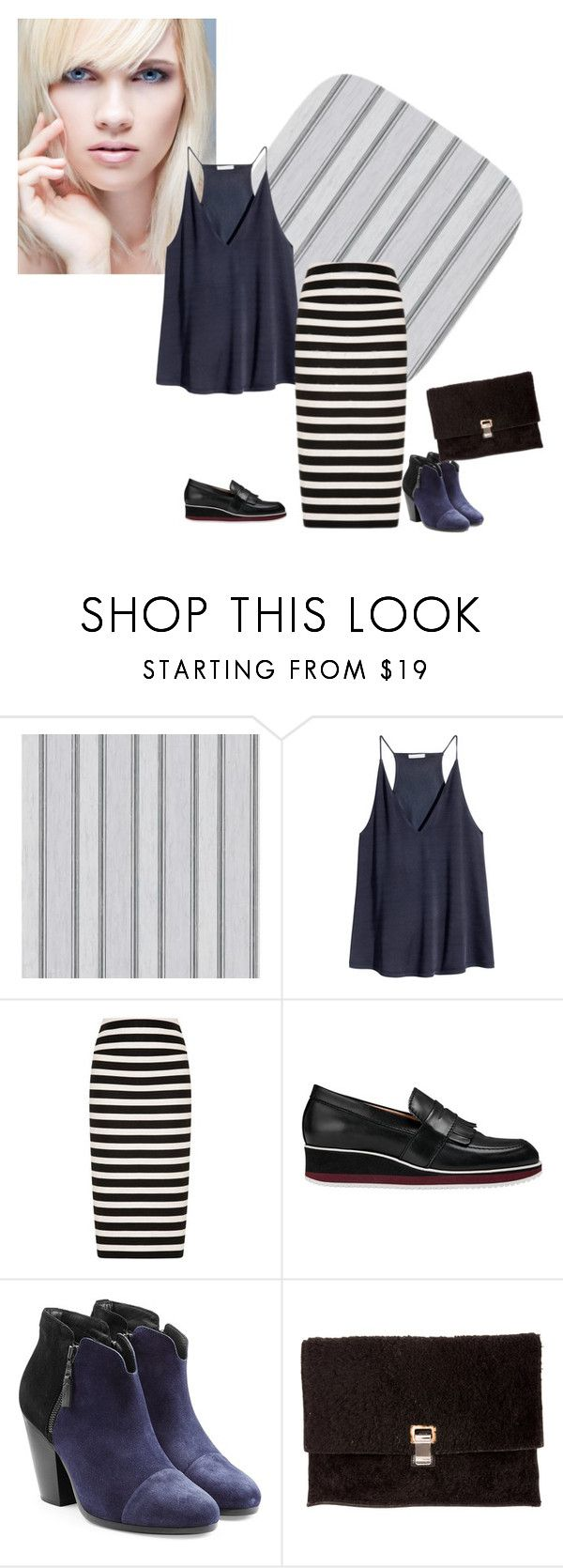 """stripe 8"" by ajriyaf on Polyvore featuring H&M, Noon by Noor, Whistles, rag & bone and Proenza Schouler"