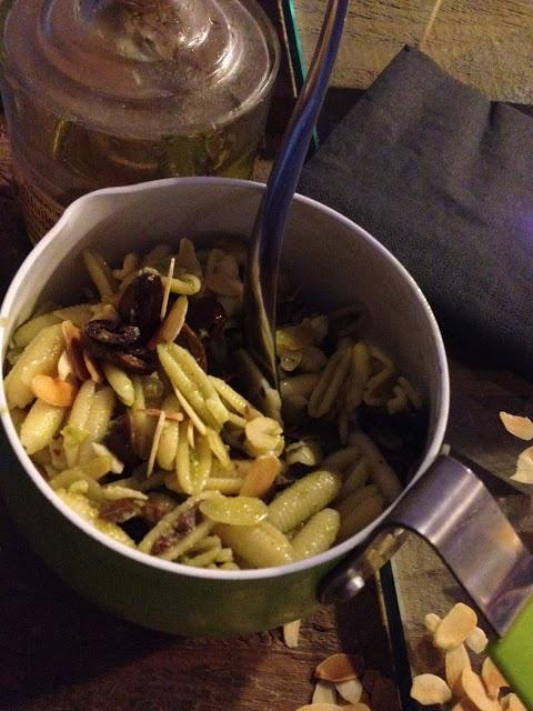 gnocchetti sardi con olive taggiasche, lamelle di mandorle,scaglie di grana e pesto d'erbe - italian food, love italy