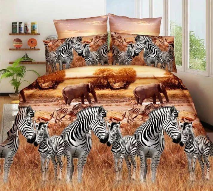 100% cotton Zebra Elephants Queen 3d bedding set luxury Duvet cover set