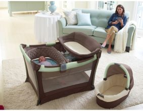 """This might be the most awesome pack-and-play set ever... Has a bassinet included, MP3 speaker system (hello iPod with """"Baroque for Baby""""!), and two-speed vibrations to help soothe baby to sleep. I vote YES for this!!!"""