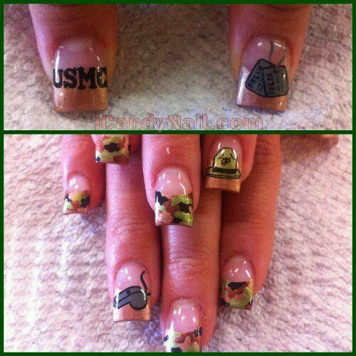 US Marines Nails. OMG! My dad would love it if I wore these!! Ooooohhhhraaaaa! USMC!!