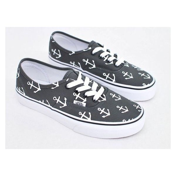 Custom Hand Painted Sailor Nautical Theme Anchor Pattern Charcoal Vans... ❤ liked on Polyvore featuring shoes, sneakers, vans shoes, vans trainers, sailor shoes, charcoal grey shoes and nautical shoes