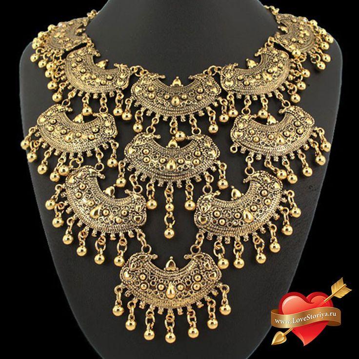 """Ожерелье """"Динара"""" многослойное в ретро стиле"""