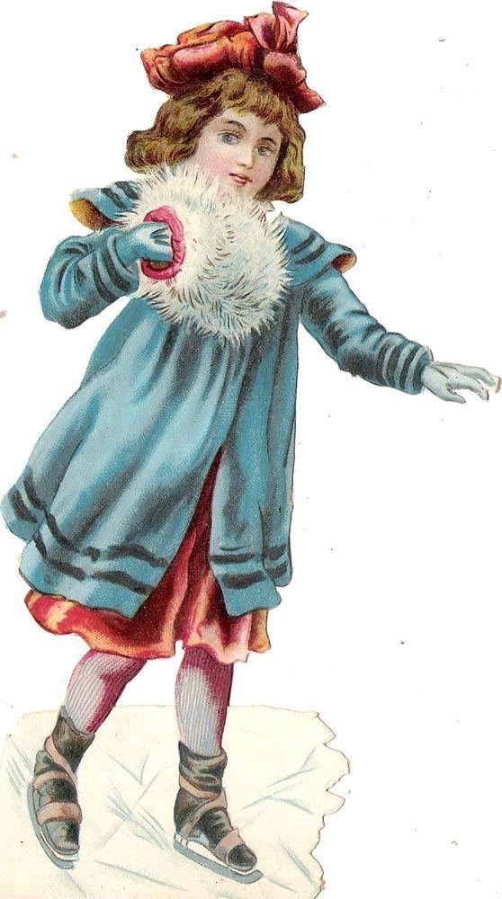 Oblaten Glanzbild scrap die cut chromo Winter Kind 17cm  child Eis ice skating:
