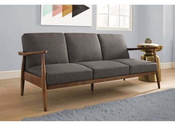 mid century convertible futon sleeper sofa bed mod furniture home couch grey - Futon Sofa Beds