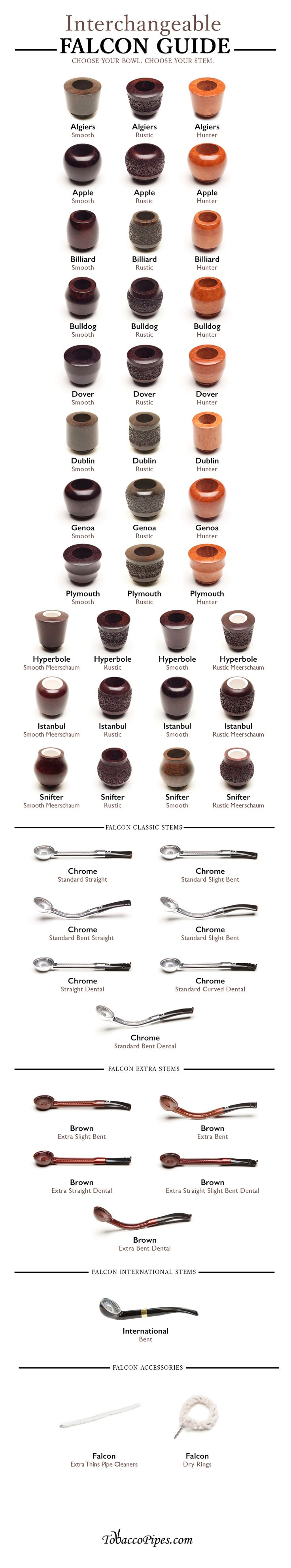 Use this simple infographic to choose your favorite Falcon Pipes pieces. View all Falcon bowls and stems in one place!