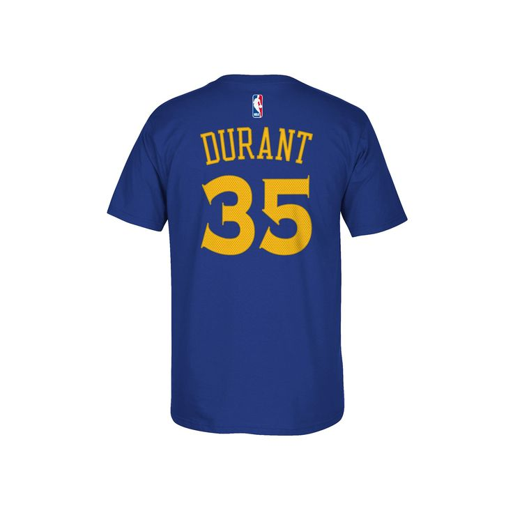 Men's Adidas Golden State Warriors Kevin Durant Player Name and Number Tee, Size: Small, Blue