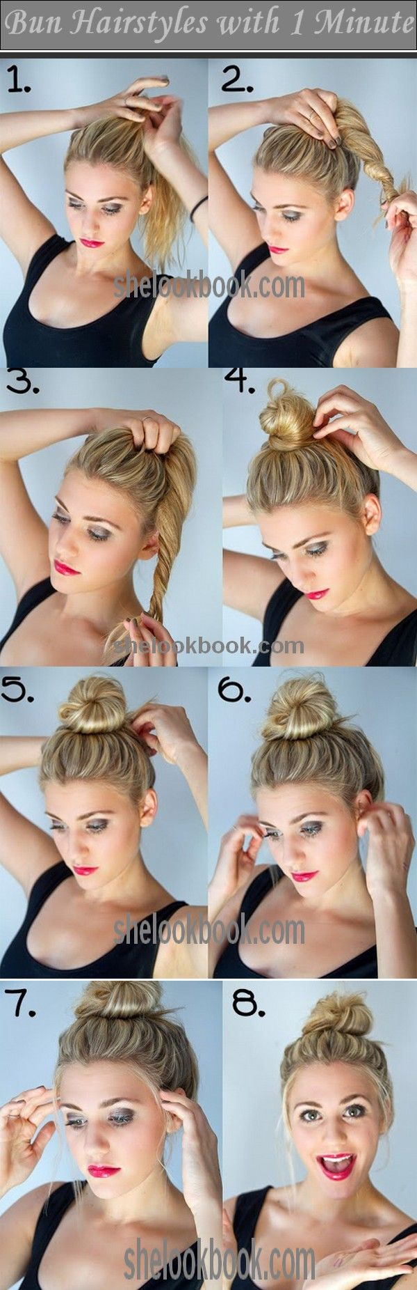 Twisted Bun Hairstyle. Takes literally one minute and I wear it every day. I love it because even in a pony tale my hair still sits on my neck, but this makes it 10x cooler.