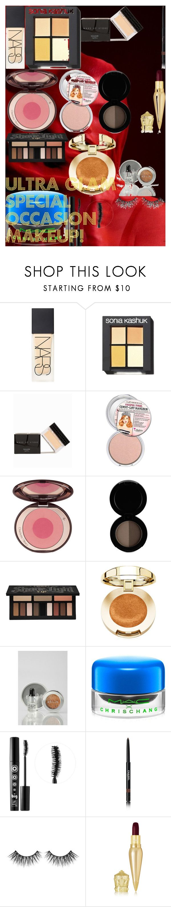 """ULTRA GLAM Special Occasion Makeup!"" by oroartye-1 on Polyvore featuring beauty, NARS Cosmetics, Sonia Kashuk, MAKE UP STORE, Charlotte Tilbury, Kat Von D, Stila, MAC Cosmetics, Ardency Inn and Chanel"