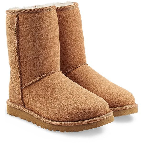 UGG Australia Classic Short Suede Boots ($190) ❤ liked on Polyvore featuring shoes, boots, brown, ugg® australia boots, rounded toe boots, round toe boots, brown boots and suede mid calf boots