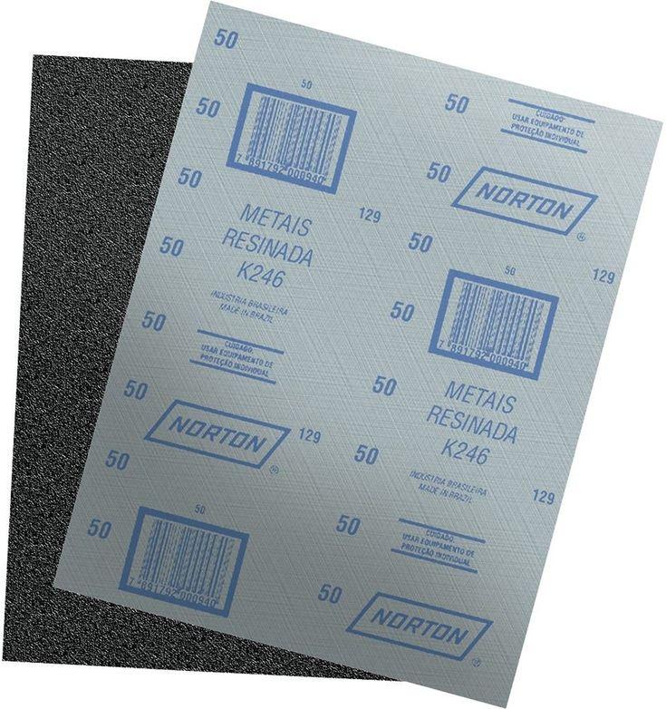 Lixa Folha Ferro e Aço Acabamento de Superficies G100 K-246 com 25 Folhas - Norton | Ferramentas Gerais