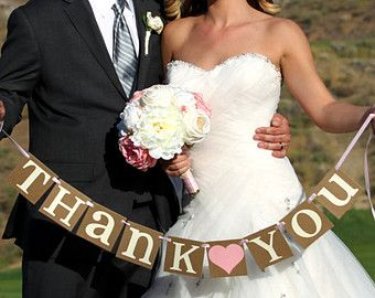 Thank You Sign / Rustic Wedding Banner Photo Prop by BannerCheer