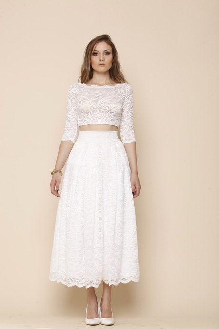 Ivory Wedding Tea Length Lace Skirt And Top Wedding Lace