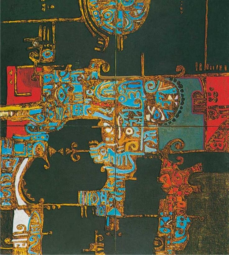 """Images from Iraq History صور من تأريخ العراق لوحة للفنان ضياء العزاوي: """"المدينة الضائعة"""" من الفن التجريدي  Painting by artist Dia Azzawi: """"Lost City"""" abstract art"""