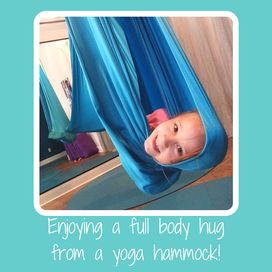 I love teaching meditation in the aerial yoga hammock because the full body hug helps kids feel settled and comfortable in their own bodies, and I know the deep pressure is doing some good work for their brains and bodies unbeknownst to them!