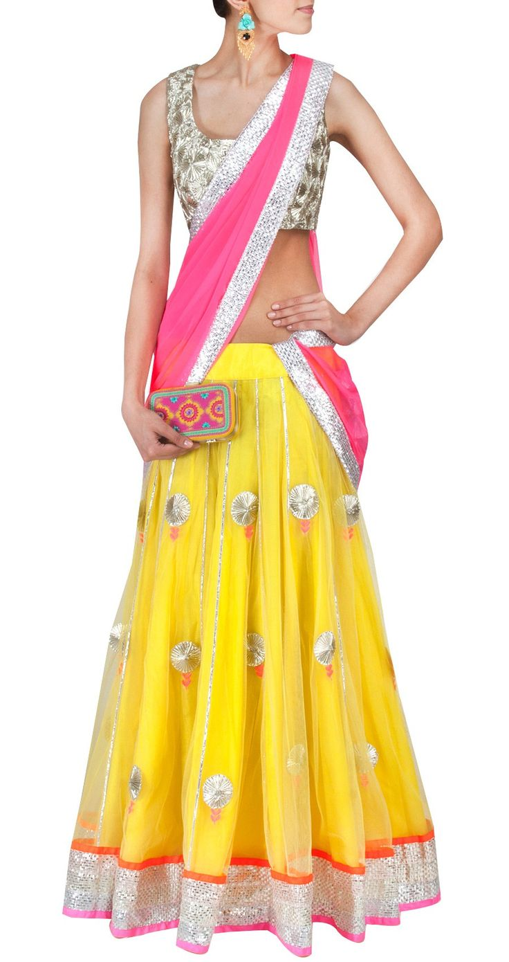 AYINAT BY TANIYA O'CONNOR Yellow and neon pink lehenga with textured gota choli Product Code - AYC0613OCP4 Price - Rs. 31,500