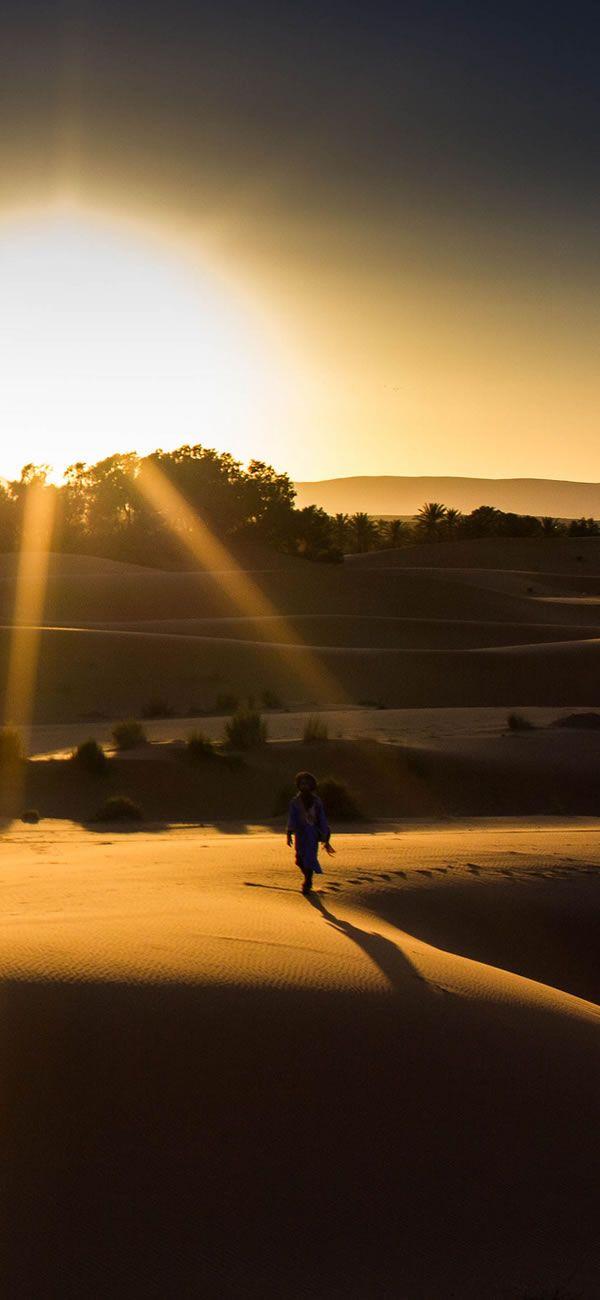 砂漠での感動的な朝日・夕日観賞も。 Sunset!morocco
