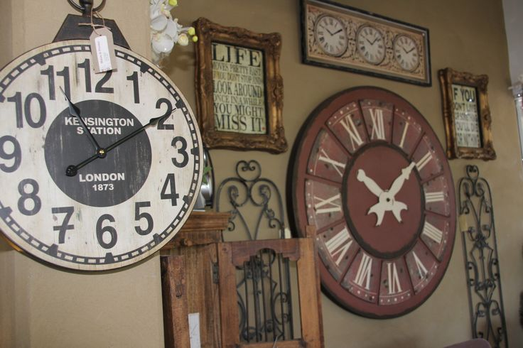One of our wall at the shop! Love clocks!