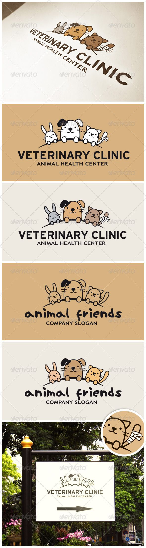 Funny Animals Logo. #GraphicRiver Funny Animals Logo (Rabbit, Dog and Cat) – perfect for veterinary clinic, pet hotel, pet shop or other animals related website or product: EPS and AI files.  	 Logo comes in different design and completely clean that might be useful if used not for hospital.