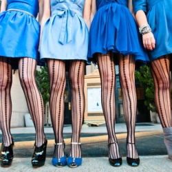 Funky tights on bridesmaids? Yes please! Check out this blue with black and white stripes inspiration.