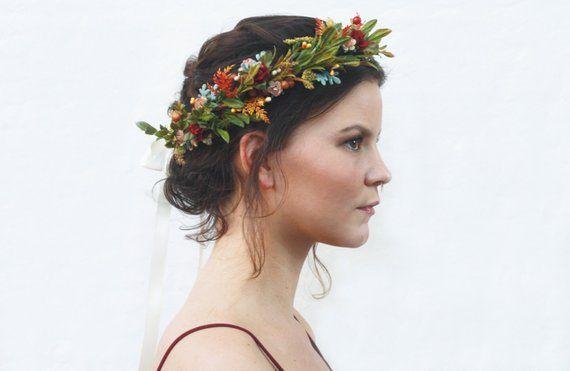 Rustic Tuscan Flower Crown, Autumn Flower Headpiece, Woodland Floral Crown, Floral Hair Wreath, Bridal Flower Crown, Laurel, Bohemian Bride