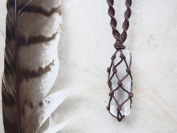 Raw Quartz Point Macrame Wrapped Necklace.