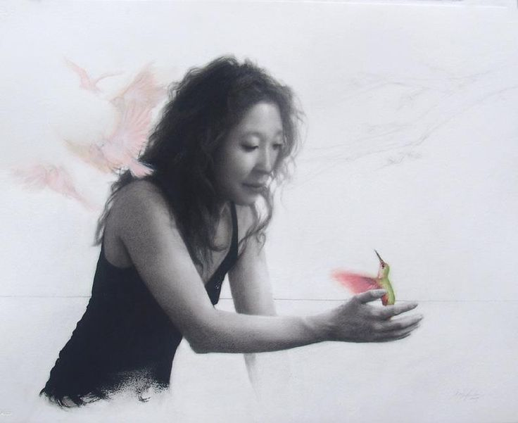 """Sara Sniderhan - Portrait of Being. 22 x 30"""". Carbon and watercolor. 2009. (Sandra Oh)"""