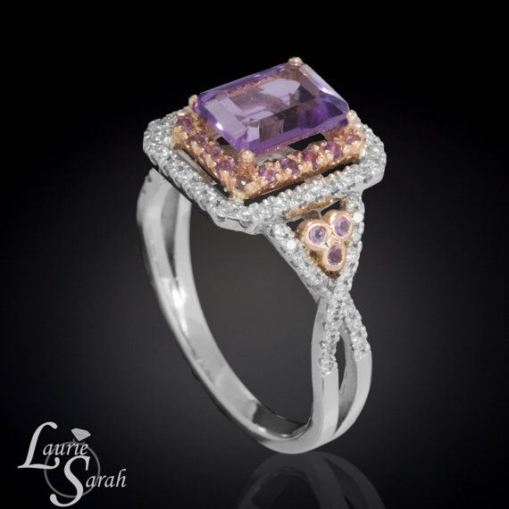 Emerald Cut Amethyst Engagement Ring with Amethyst & Diamond Double Halo in 14kt Rose and White Gold - LS3351 on Etsy, $2,564.25