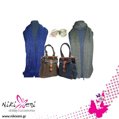 Big two pockets bags with wood stick clutch, long scarves with silver knots._fashion woman accessories.