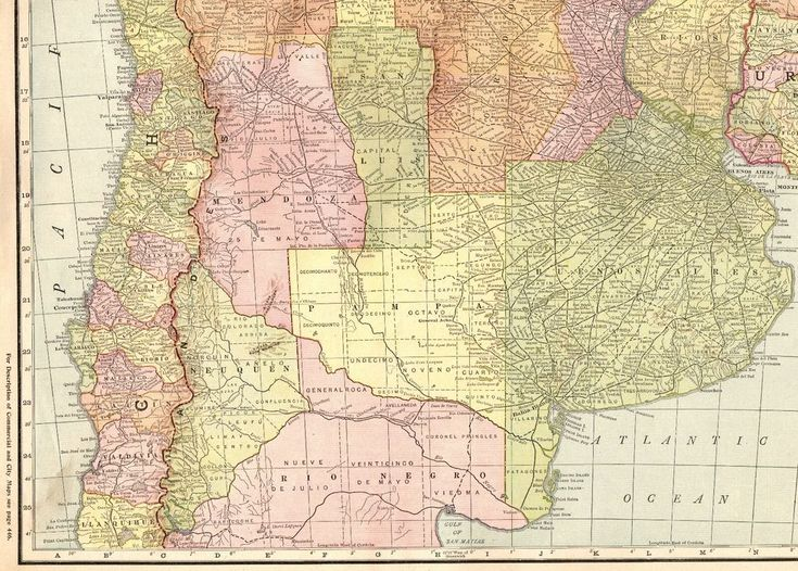 1916 Antique Map of ARGENTINA Chile PARAGUAY URUGUAY Map RARE Poster Print Size