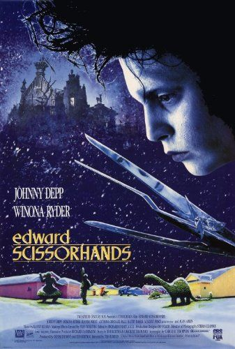 Directed by Tim Burton.  With Johnny Depp, Winona Ryder, Dianne Wiest, Anthony Michael Hall. An uncommonly gentle young man, who happens to have scissors for hands, falls in love with a beautiful adolescent girl.