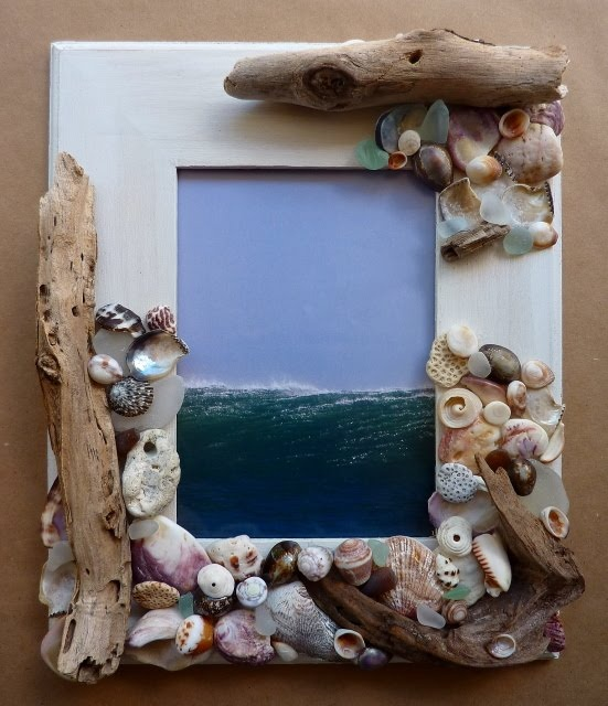 Funky beach find frame -use a plain wood frame use a woodburner to put beach name & date on frame along with shells