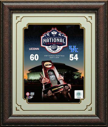 Uconn Men's 2014 NCAA Basketball Champions Final Score Photo Framed
