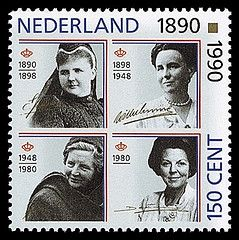 4 generations of Dutch queens, from 1990; going L-R and top to bottom:  Emma (regent from 1890-1896); Wilhelmina (1898-1948); Juliana (1948-1980); and Beatrix (1980-date).  Beatrix abdicated in 2013 in favor of her son, now King Willem-Alexander, becoming the first King of the Netherlands since 1890.