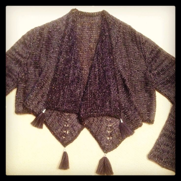 Knitted cardigan with tassels in cotton linen viscose by Tanja kozub knitwear