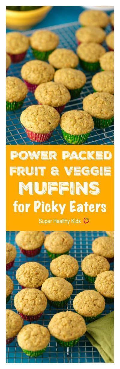 Power Packed Fruit and Veggie Muffins for Picky Eaters. Our most popular muffin because it has veggies inside! We have these ready to go on school mornings. www.superhealthyk...