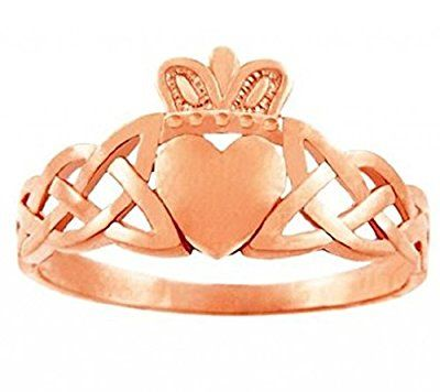 Trinity Band 10k Rose Gold Claddagh Promise