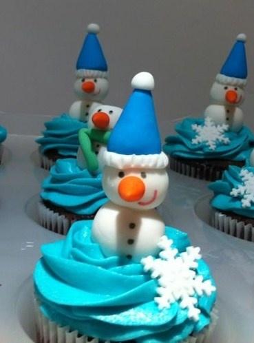 Cupcakes de navidad y muñeco de nieve elaborados por TheCakeProject en Madrid