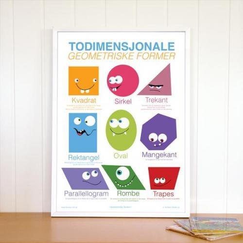Plakat med de vanligste todimensjonale geometriske formene.