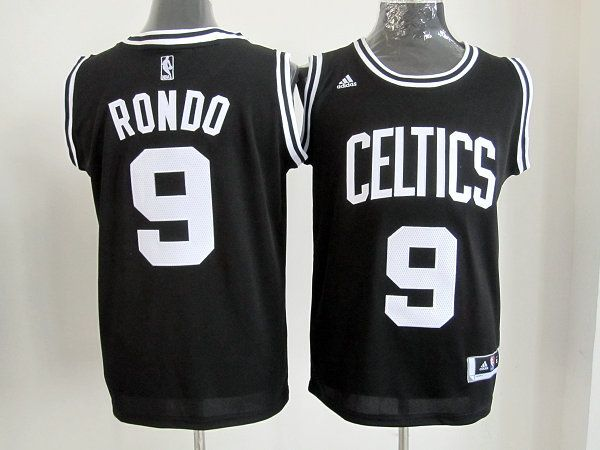 dc5a5503a Adidas NBA Boston Celtics 9 Rajon Rondo Black White Number Swingman Jersey