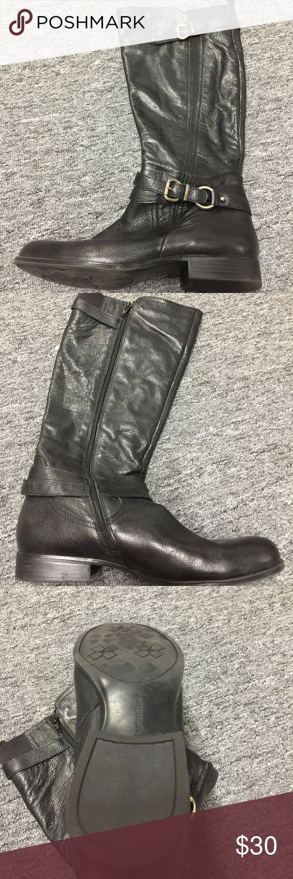 """Naturalizer Wide Calf Riding Boots From Nordstrom Website: A curved gore perfects the N5 Comfort System fit of a lightly textured boot burnished for a classic look. 1"""" heel. 15"""" boot shaft; 14 1/2"""" calf circumference. Stretches to fit calf. (size 8.5). Side zip entry. Leather upper/synthetic lining and sole. Size 11 Lightly worn,  only evidence is on the sole Naturalizer Shoes"""