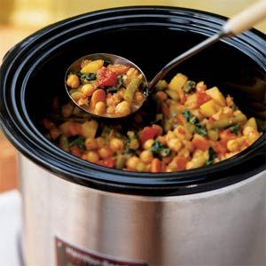 Aromatic Indian spices mingle with chickpeas, green beans, and potatoes. Coconut milk is stirred into the cooked curry for a creamy finish. Serve over quick-cooking couscous.