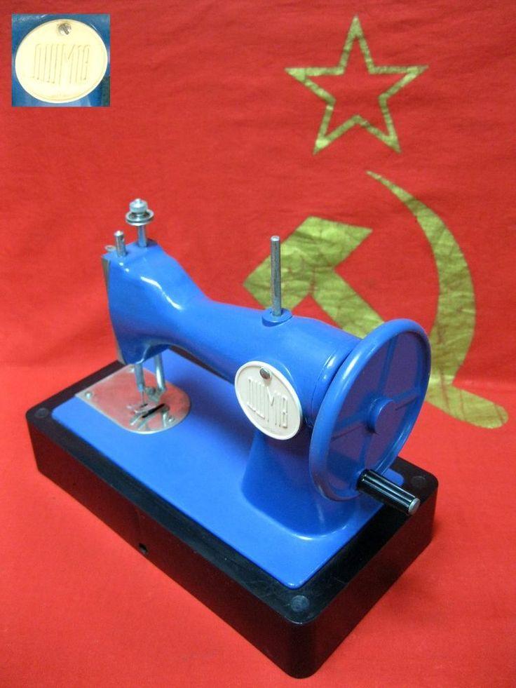 Vintage Soviet Russian Children Toy mini Sewing Machine USSR metal plastic