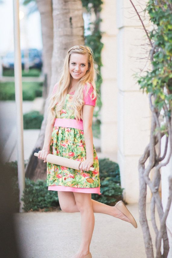 Fab Flamingo  Tropical Apron by EricEvangeline on Etsy