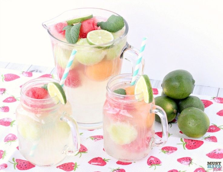 Refreshing Melon Ball Punch recipe combines sparkling white grape juice, lemonade and 7 up for a refreshing summer drink recipe!