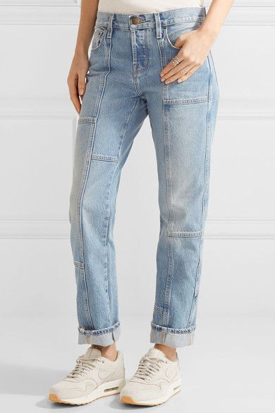 Current/Elliott - The Patchwork Crossover Mid-rise Straight-leg Jeans - Mid denim - 27