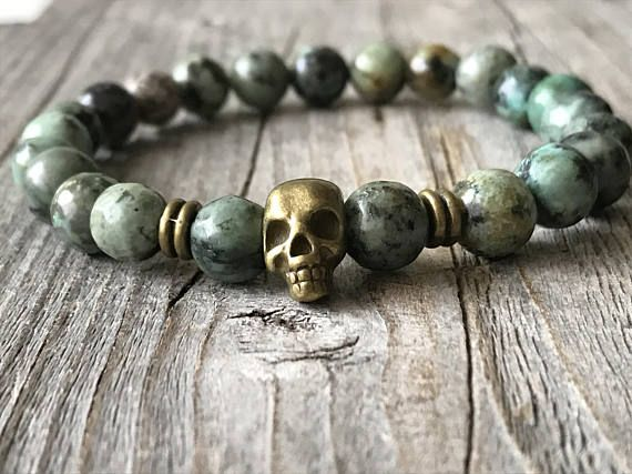 Gemstone skull bracelet Men beaded bracelet Stretch stacking