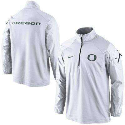 Oregon Ducks Nike Coaches Sideline Half Zip Performance Jacket – White