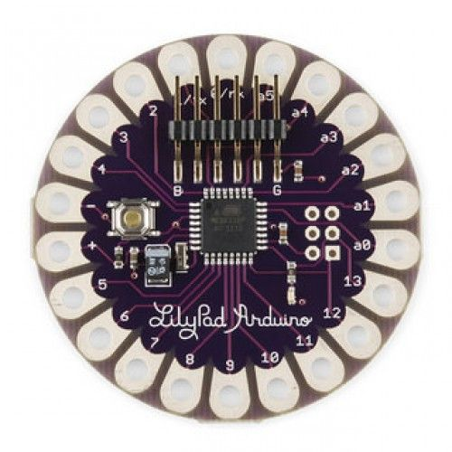 The LilyPad Arduino is a microcontroller board designed for wearable and e-textiles. It can be sewn to fabric and similarly mounted power supplies, sensors and actuators with conductive thread. The board is based on theATmega168V (the low-power version of the ATmega168).   The LilyPad Arduino can be programmed with the Arduino software. The LilyPad Arduino should only be programmed with software versions 0010 or higher.