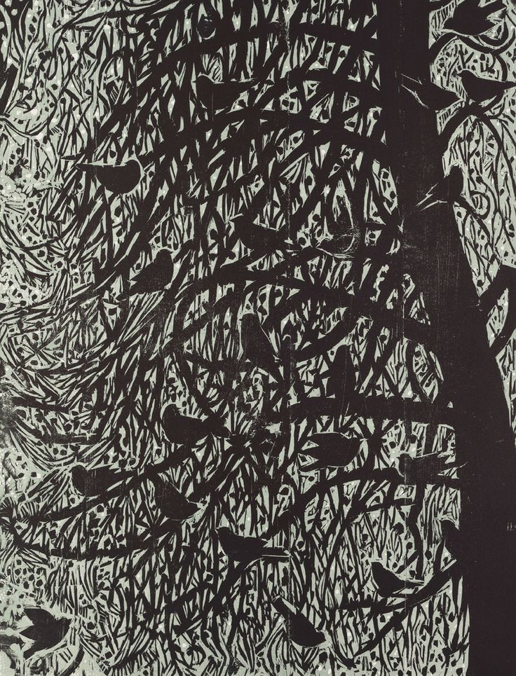 """Midnight Gathering"" wood cut print by artist Kent Ambler"